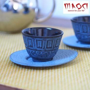 Tasses japonaises fonte 'Asayoshi' bleues