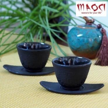 Tasses japonaises fonte 'Fuyuka' noires