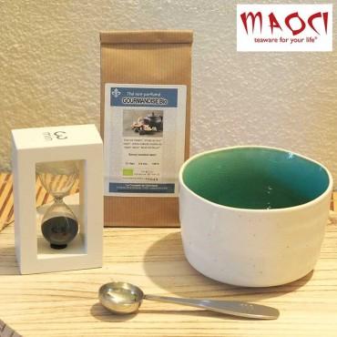 Coffret thé - bol turquoise clair