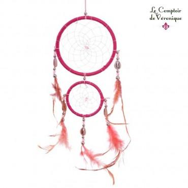 Attrape Rêve traditionnel - 2 Cercles Rose