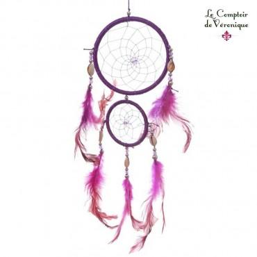 Attrape Rêve traditionnel - 2 Cercles violets