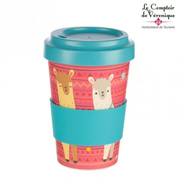 "Mug de voyage en bambou ""Lamas"""