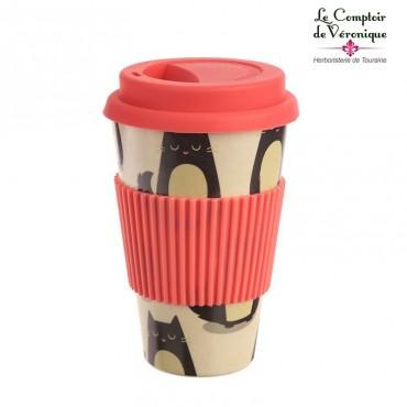 """Mug de voyage en bambou """"Chats"""""""